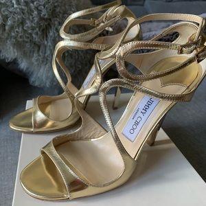 Jimmy Choo Lance Gold Liquid Mirror Sandals 36.5